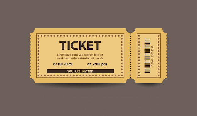 Yellow paper stub ticket Premium Vector