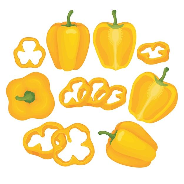 黄色のパプリカベクトル設定図 Premiumベクター