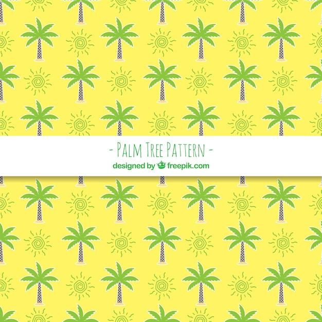 yellow pattern of palm trees and sun vector free download