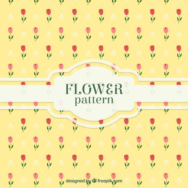 Yellow pattern with decorative flowers in flat\ design