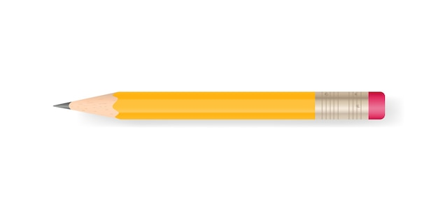 Premium Vector | Yellow pencil on white background.