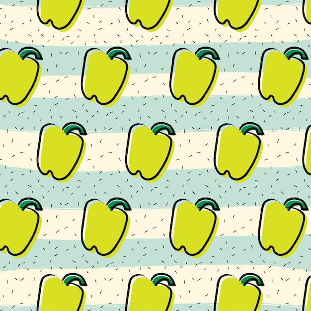 Yellow pepper paprika fruit pattern background Premium Vector