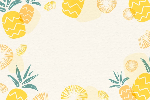 Yellow pineapple background Free Vector