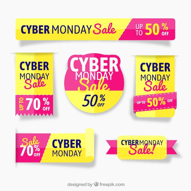 Yellow and pink cyber monday labels Free Vector