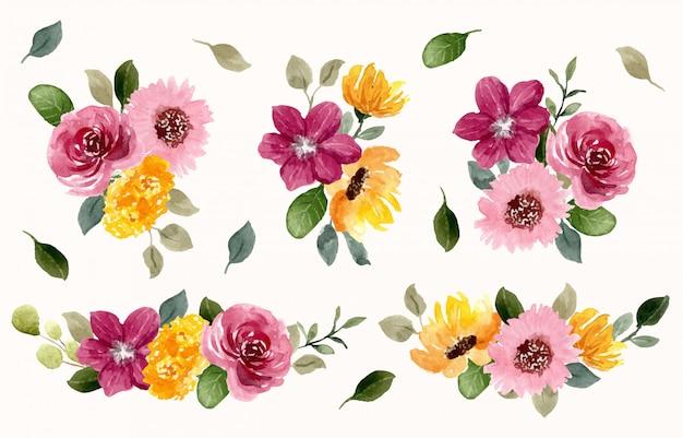 Желто-розовая цветочная композиция акварельная коллекция Premium векторы