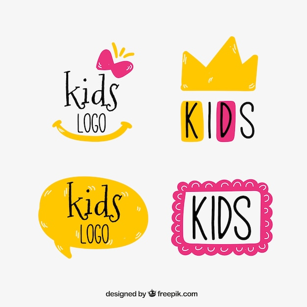 Yellow and pink kids logos Free Vector