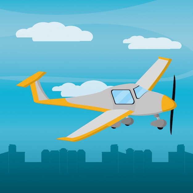 Yellow plane city daylight Premium Vector