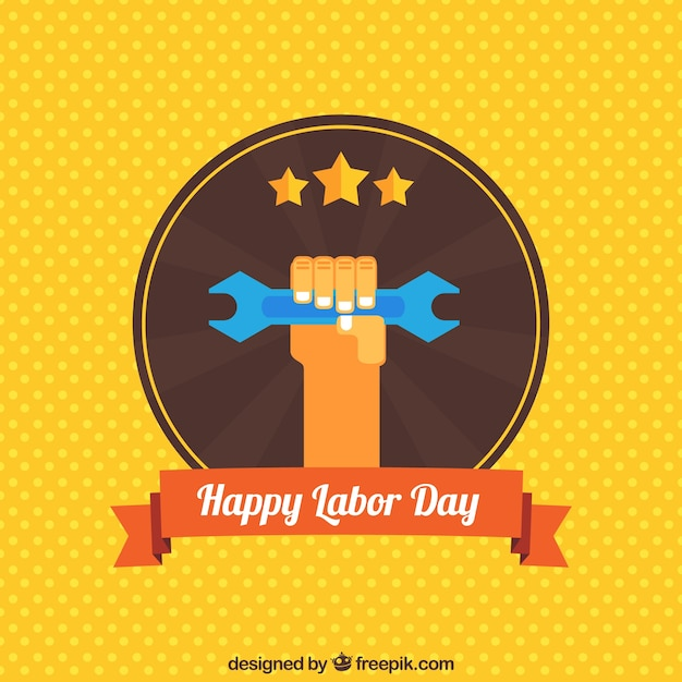 yellow polka dot background of labor day free vector