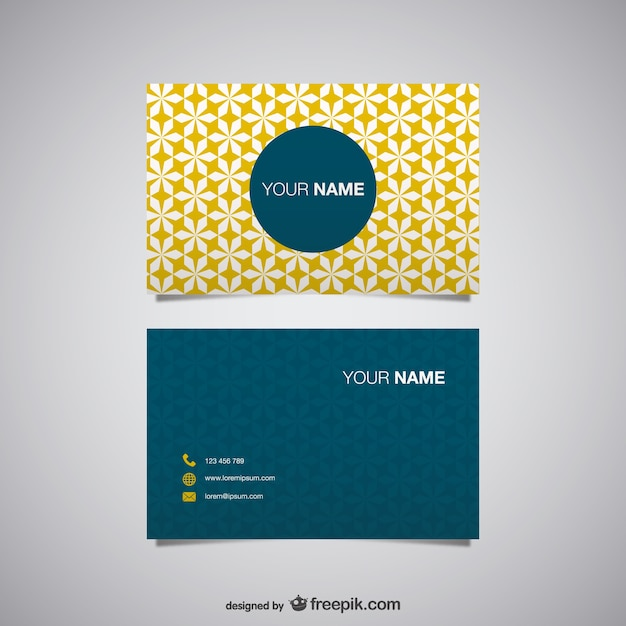 Yellow polygonal business card Free Vector