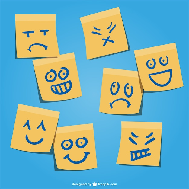 Yellow post-it with emotion faces Free Vector