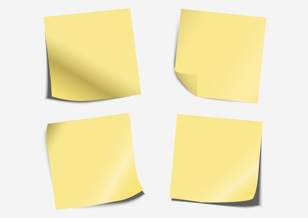 Yellow post note label paper folding set on board Premium Vector