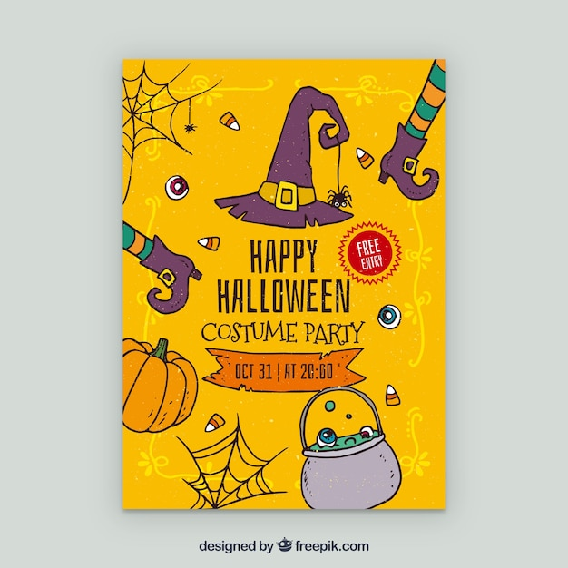 Yellow poster of halloween party with\ elements