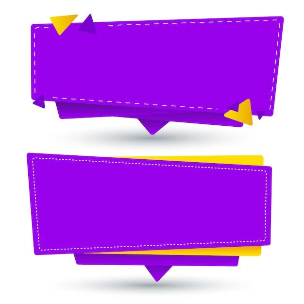 Yellow and purple blank banner set Premium Vector