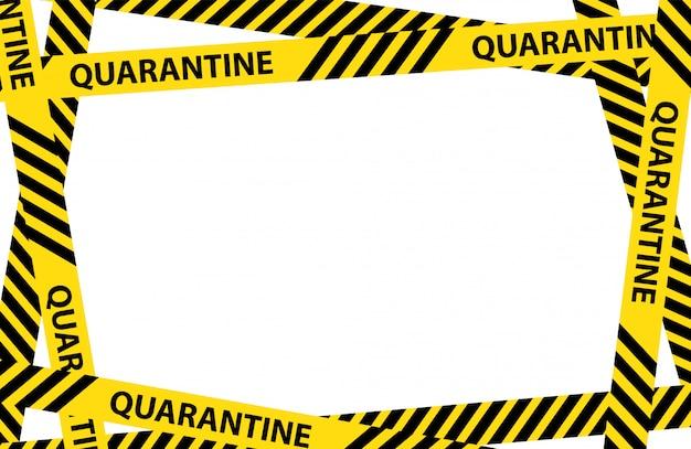 Yellow quarantine warning tape frame Premium Vector