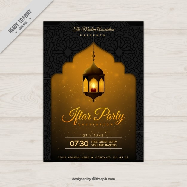 Yellow ramadan party poster Free Vector