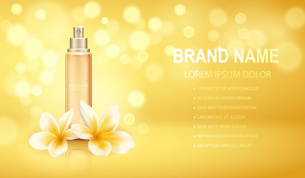 Yellow realistic perfume bottle isolated on the sparkling effects background with plumeria flowers. Premium Vector