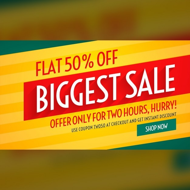 Yellow, red and green discount voucher Free Vector