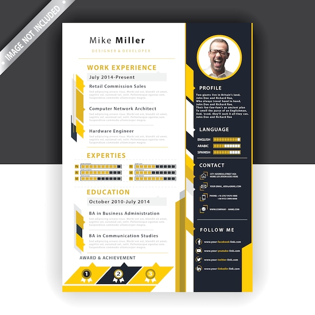 Yellow resume template Free Vector