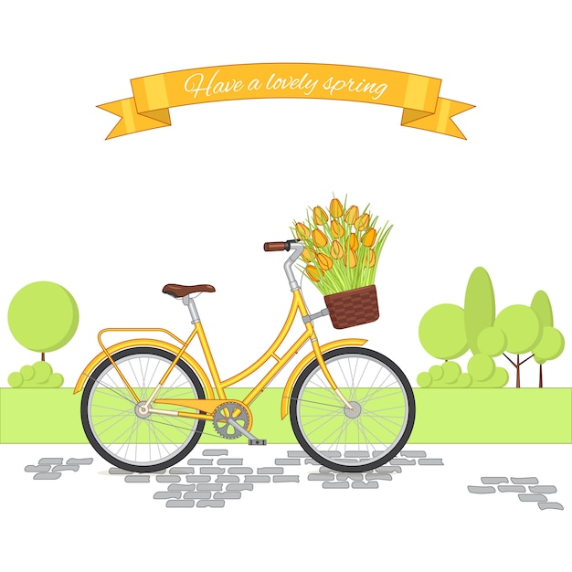 Yellow retro bicycle on cycling park background  colorful vintage