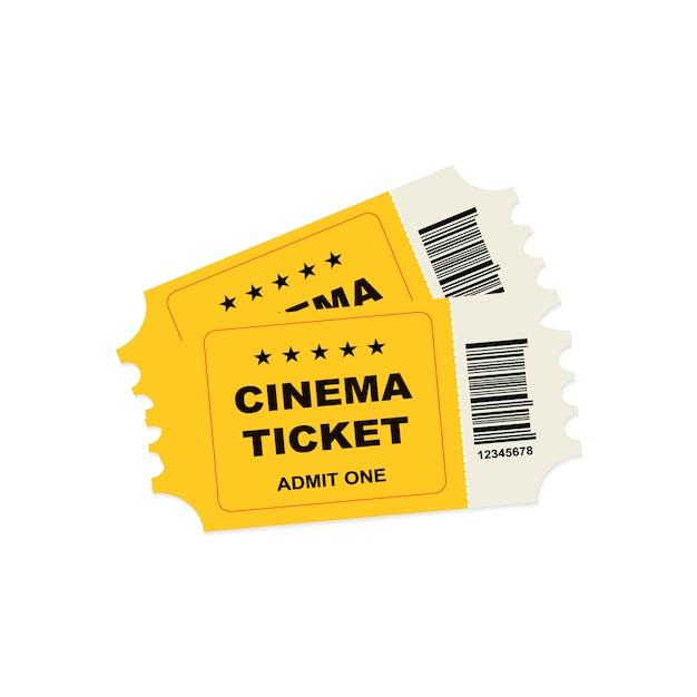 Yellow retro cinema tickets Premium Vector