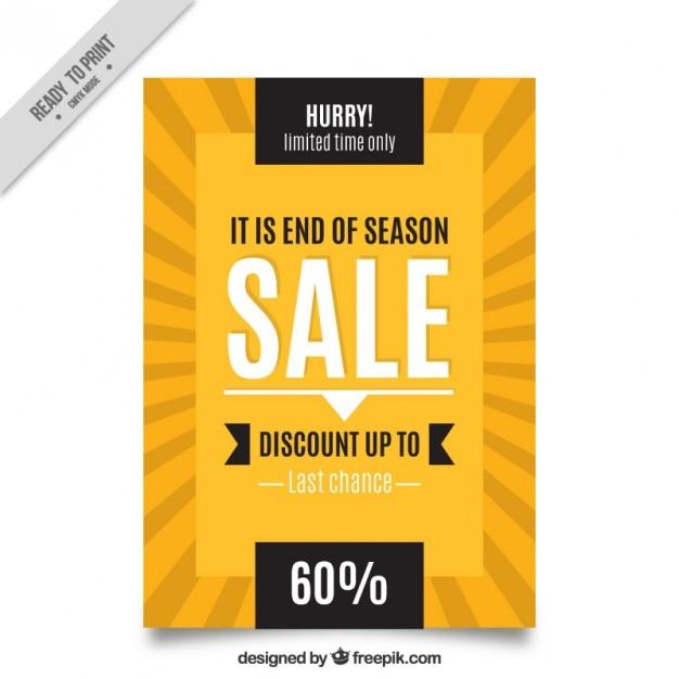 Yellow retro sale brochure Free Vector
