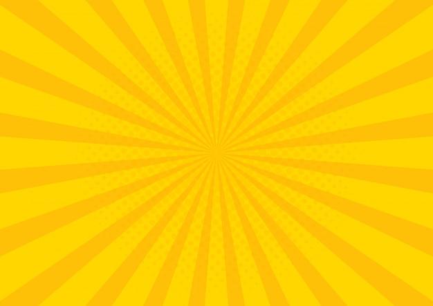 태양 광선으로 노란색 레트로 빈티지 스타일 배경 프리미엄 벡터