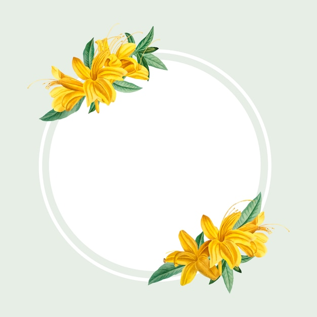 Yellow rhododendron frame Free Vector