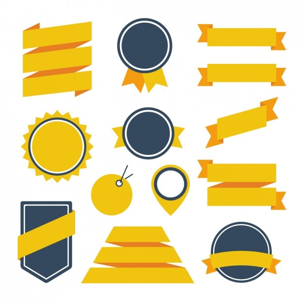 Yellow ribbons and badges design Free Vector