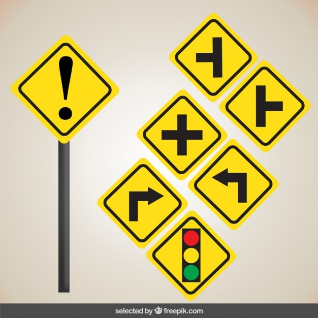 yellow road signs vector free download