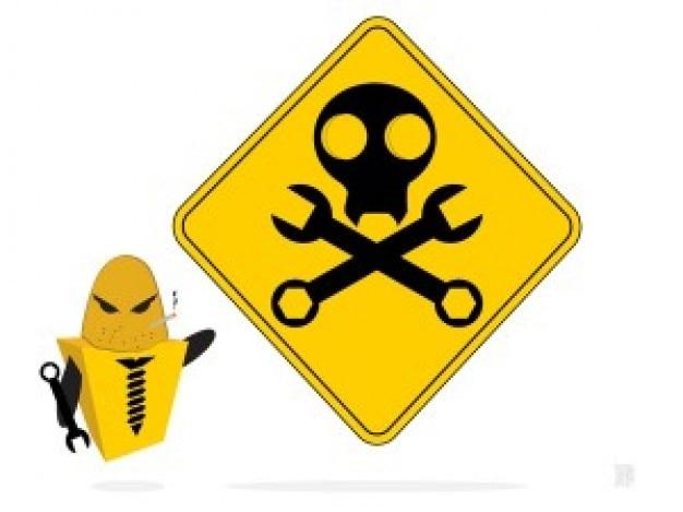 Yellow robot construction danger sign vector Free Vector