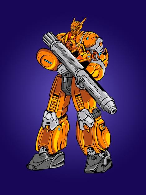 Yellow robot soldier illustration Premium Vector