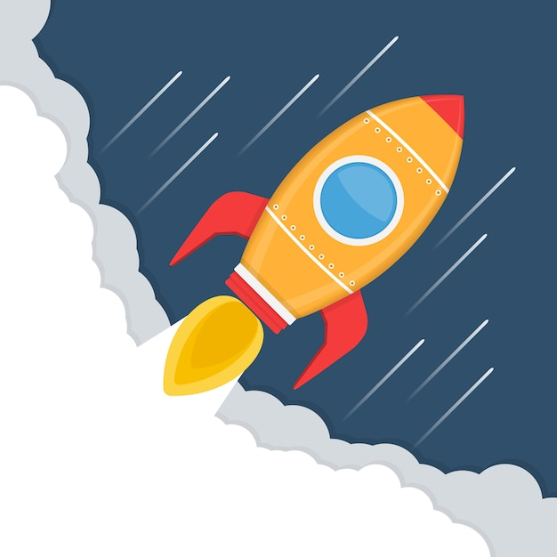 Yellow Rocket In Space, Rocket Launch, Startup Concept