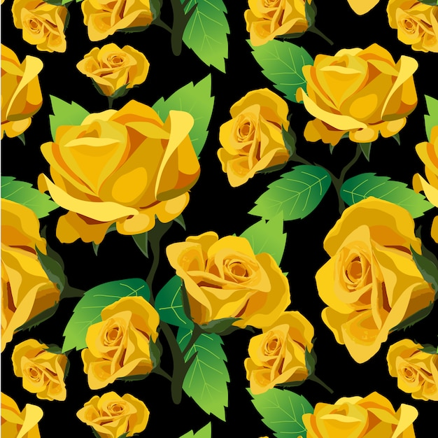 Yellow Roses Pattern Background Vector Free Download