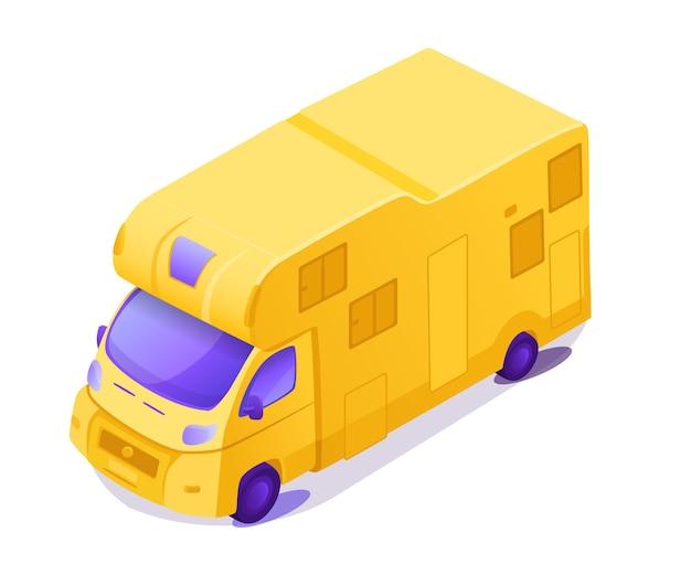 黄色のrvアイソメトリックカラーイラスト。自然の夏休みのためのキャラバンキャンピングカー。 rv車。 Premiumベクター