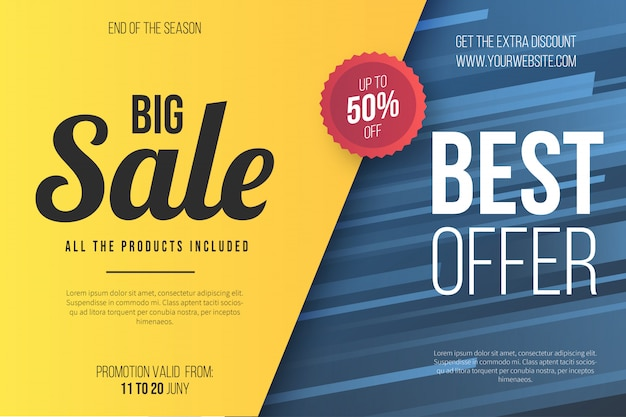 Yellow sale banner template Free Vector