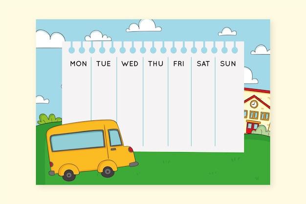 Желтый школьный автобус рисованной расписание Бесплатные векторы