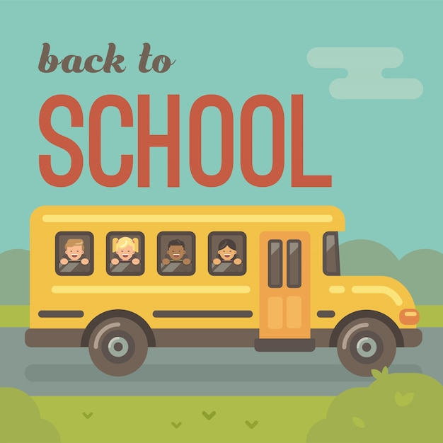 Yellow school bus on the road, side view, with four children looking out the windows, two boys, two girls. back to school Premium Vector