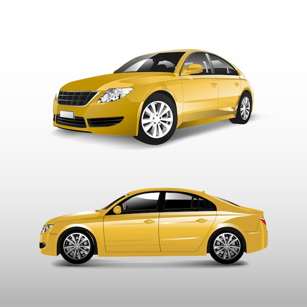 Yellow sedan car isolated on white vector Free Vector