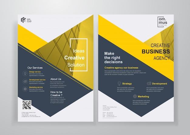 Yellow shape corporate brochure or flyer Premium Vector