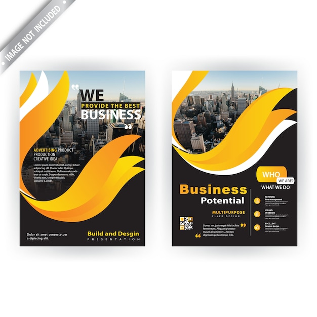 Yellow shape corporate brochure Free Vector