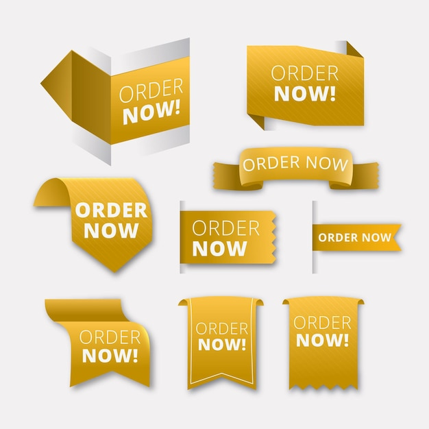 Yellow shapes stickers of order now promotion Free Vector