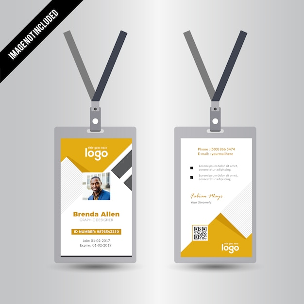 Yellow Simple Id Card Design Template Vector   Premium Download