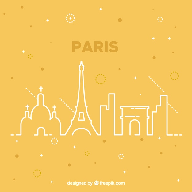 Yellow skyline of paris design Free Vector