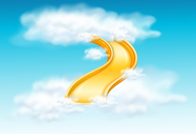 Yellow slide in the fluffy clouds Free Vector