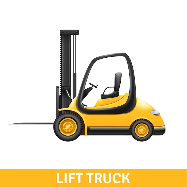 Yellow small lift truck Free Vector