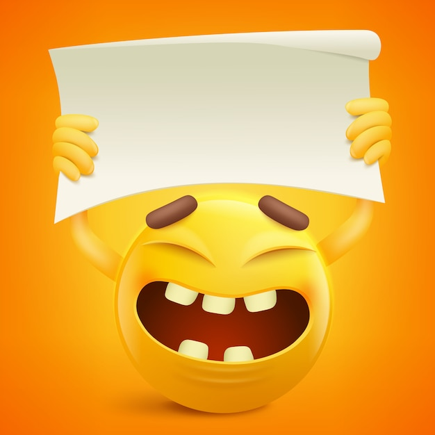 Yellow smiley cartoon character with paper banner in hands. Premium Vector