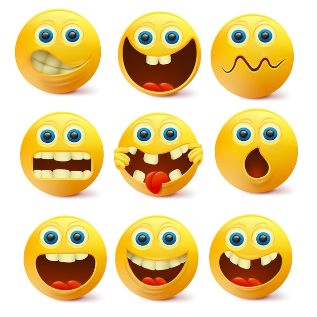 Yellow Smiley Faces Emoji Characters Template Vector