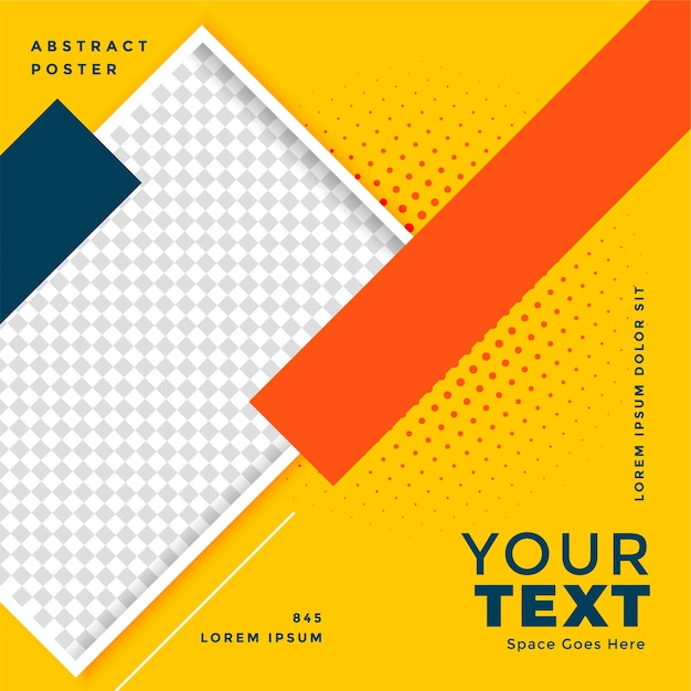 Yellow social media poster  with image space Free Vector