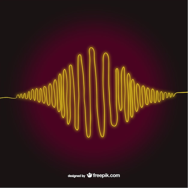 Yellow sound wave Free Vector