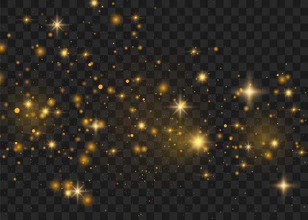 Yellow sparks glitter special light effect.  sparkles on transparent background. christmas abstract pattern. sparkling magic dust particles - Premium Vector